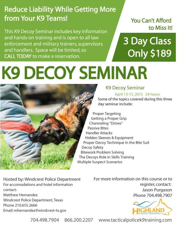 Police K9 Decoy Seminar in Windcrest Texas April 1315 – Seminar Flyer