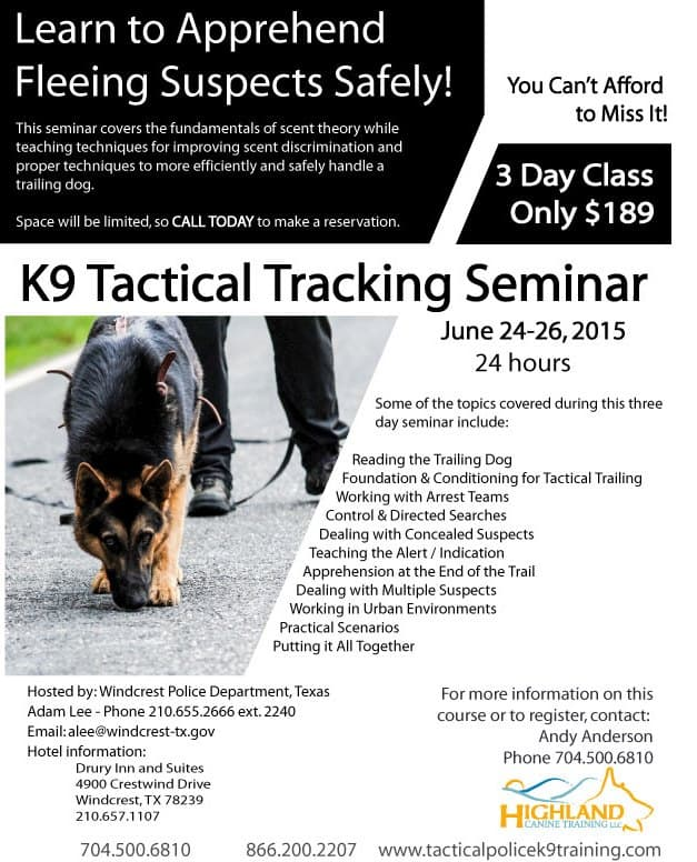 Tactical Tracking Seminar - Windcrest, Texas June 24-26