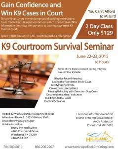 K9 Courtroom Survival Seminar Texas